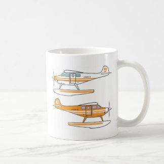 Hidroavión. Avión flotante. vector Taza
