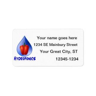 Hidrocultivo azul del descenso del texto azul rojo etiquetas de dirección