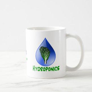 Hidrocultivo, descenso del agua y texto verde de l tazas de café