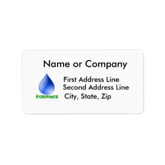 Hidrocultivo en texto verde con descenso del agua  etiqueta de dirección
