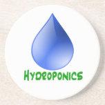 Hidrocultivo en texto verde con descenso del agua  posavasos diseño