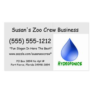 Hidrocultivo en texto verde con descenso del agua tarjetas de visita