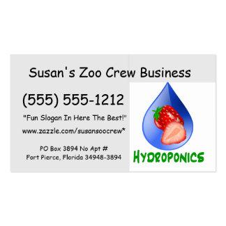 Hidrocultivo fresas texto verde descenso azul tarjetas de visita
