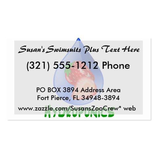 Hidrocultivo, fresas, texto verde, descenso azul tarjetas de visita