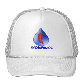Hidrocultivo, pimienta de chile, diseño azul del t gorras