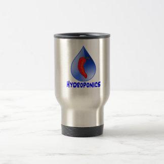 Hidrocultivo, pimienta de chile, diseño azul del taza de viaje