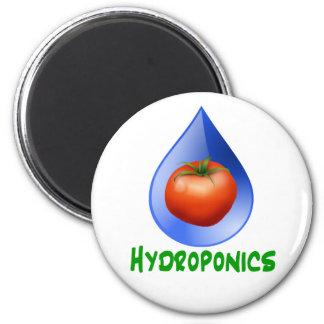Hidrocultivo-Tomate, texto verde, descenso azul Imán Redondo 5 Cm