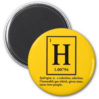 hidrógeno - un gas que da vuelta en gente imán para frigorífico