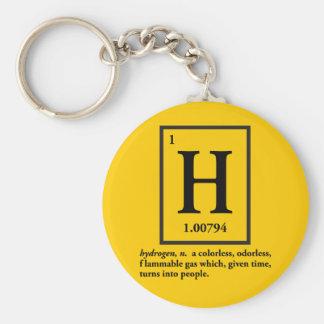 hidrógeno - un gas que da vuelta en gente llavero redondo tipo pin