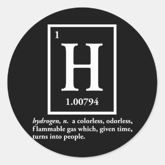 hidrógeno - un gas que da vuelta en gente pegatinas redondas