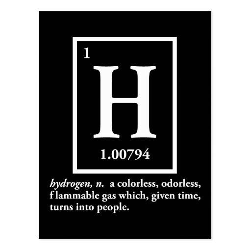 hidrógeno - un gas que da vuelta en gente postales