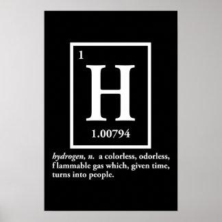 hidrógeno - un gas que da vuelta en gente posters