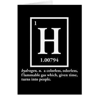 hidrógeno - un gas que da vuelta en gente tarjeta de felicitación