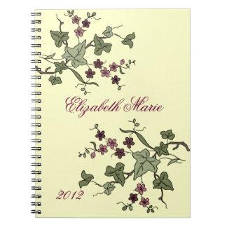 Hiedra inglesa y Flor-Nombre púrpura Libretas