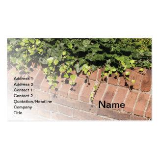 hiedra verde por una pared de ladrillo roja tarjetas de visita
