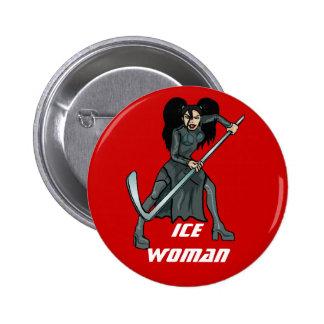 hiele al jugador de hockey de la mujer que juega a pin redondo 5 cm