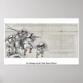 Hiele el viaje de pesca por Taki, Katei Ukiyoe Poster