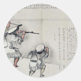 Hiele el viaje de pesca por Taki, Katei Ukiyoe Etiqueta Redonda