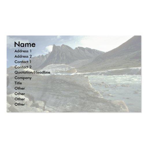 Hiele en la línea de la playa del río de la comadr tarjetas de visita