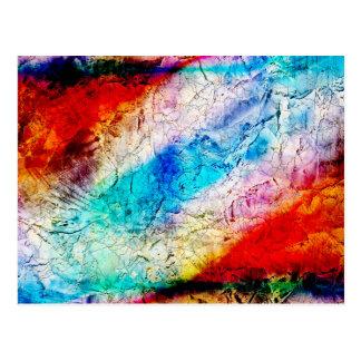Hielo agrietado rojo y azul postal