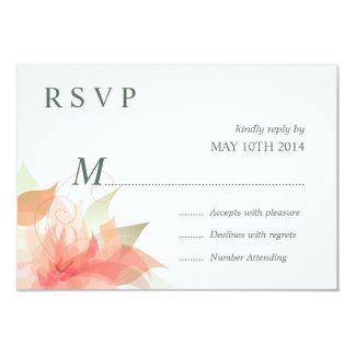 """Hielo anaranjado 2 florales de RSVP - simple Invitación 3.5"""" X 5"""""""
