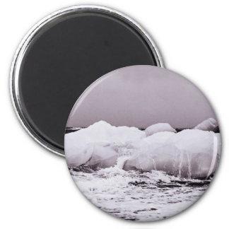 Hielo de mar de coral de fusión blanco y negro imán redondo 5 cm
