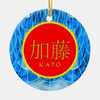 Hielo del monograma de Kato Adorno Redondo De Cerámica