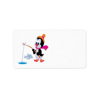 Hielo del pingüino que pesca 2 etiquetas de dirección