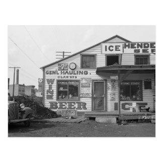 Hielo House y tienda, 1937 Tarjeta Postal
