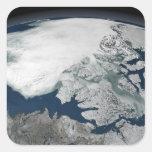 Hielo marino ártico sobre Norteamérica Calcomania Cuadradas Personalizadas