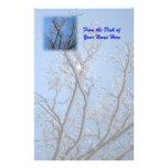 Hielo que brilla y árboles nevados papelería personalizada