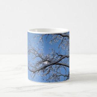Hielo que brilla y árboles nevados taza de café
