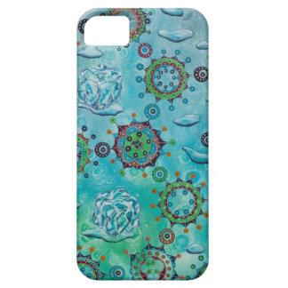 Hielo y agua de fusión con las moléculas y las funda para iPhone SE/5/5s