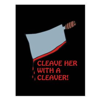 Hiéndala con una cuchilla tarjetas postales