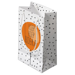 Hiep Hiep Hoera Orange Balloon Dutch Birthday Small Gift Bag