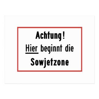 Hier beginnt die Sowjetzone, Germany Sign Postcard