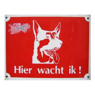 """Hier wacht ik!"" Guard dog sign postcard"
