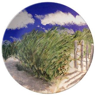 hierba de la duna platos de cerámica