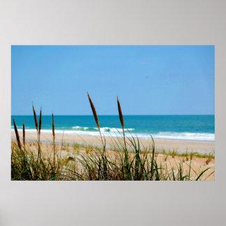 Hierba de la duna y el Océano Atlántico Póster