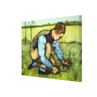 Hierba del corte del muchacho de Van Gogh con arte Impresiones En Lona