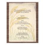 Hierba del trigo del país en menú del boda del per tarjeton