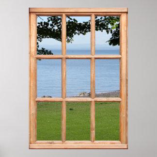 Hierba, hojas y opinión del mar de una ventana impresiones
