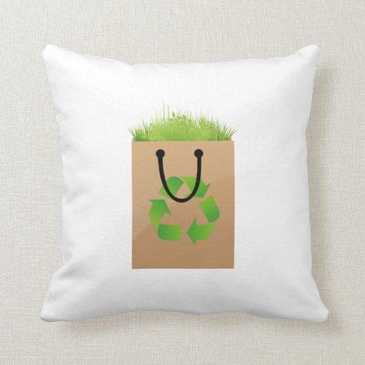 hierba marrón recycle.png del bolso de compras del cojín decorativo