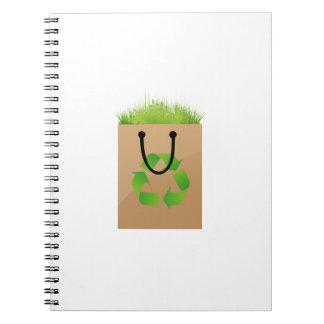 hierba marrón recycle.png del bolso de compras del libros de apuntes con espiral