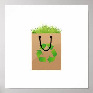 hierba marrón recycle.png del bolso de compras del póster