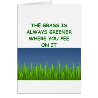 hierba verde tarjeta de felicitación