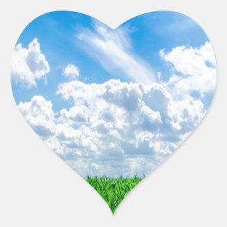 Hierba verde y cielo azul pegatinas corazon personalizadas
