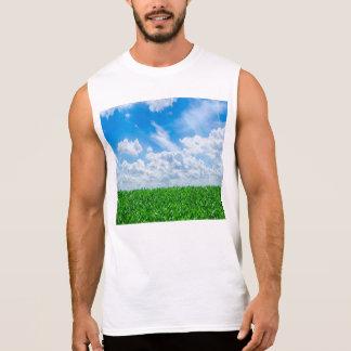 Hierba verde y cielo azul camiseta sin mangas