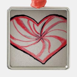 Hierbabuena en forma de corazón ornamentos de navidad