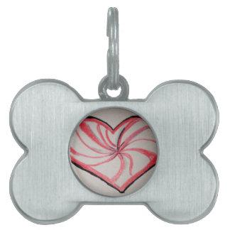 Hierbabuena en forma de corazón placa mascota
